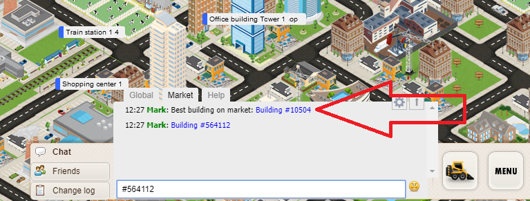 Clickable building link in chat
